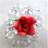 fimo clay ring with crystal glass, red