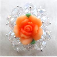 fimo clay ring with crystal glass, orange