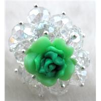 fimo clay ring with crystal glass, green