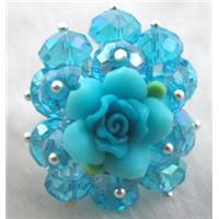 fimo clay ring with crystal glass, blue