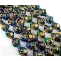 dichromatic lampwork glass beads with gold foil, twist, mixed color, 16x20mm, 20pcs per st