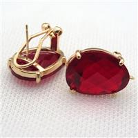 copper clip Earrings with red crystal glass, gold plated, approx 15-20mm
