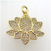copper lotus pendant pave zircon, gold plated, approx 18-20mm