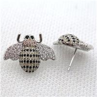 copper honeybee earring studs pave zircon, platinum plated, approx 16-20mm