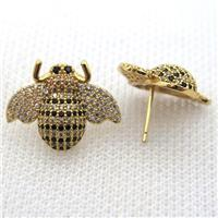 copper honeybee earring studs pave zircon, gold plated, approx 16-20mm