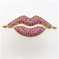copper lip connector pave zircon, gold plated, approx 12-25mm