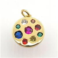 copper circle pendant pave zircon, gold plated, approx 15mm dia