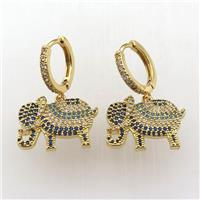 copper hoop earring pave zircon with elephant, gold plated, approx 14-18mm, 14mm dia