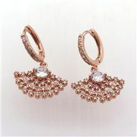 copper hoop earring pave zircon with fan, rose gold, approx 10-20mm, 14mm dia