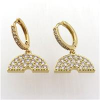 copper hoop earring pave zircon with rainbow, gold plated, approx 10-20mm, 14mm dia