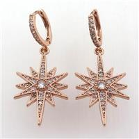 copper hoop earring pave zircon with northstar, rose gold, approx 18-30mm, 14mm dia