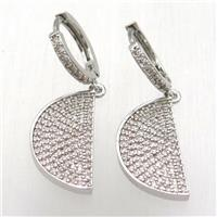 copper moon Hoop Earrings pave zircon, platinum plated, approx 15-30mm, 14mm dia