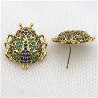 copper Studs Earring paved zircon, beetle, gold plated, approx 20mm