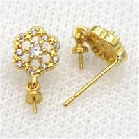 copper Stud Earrings paved zircon, flower, gold plated, approx 8mm