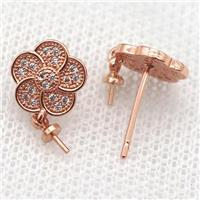 copper Stud Earrings paved zircon, flower, rose gold, approx 10mm dia