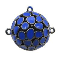 copper pendant bail, blue Enameling, black plated, approx 20mm dia