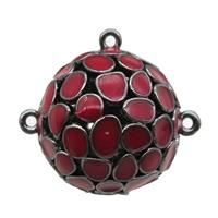 copper pendant bail, red Enameling, black plated, approx 20mm dia