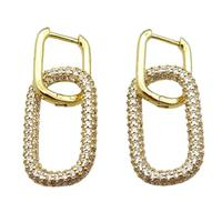 copper Latchback Earrings pave zircon, oval, gold plated, approx 14-25mm, 12-16mm