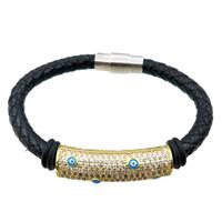 PU leather cord bracelets with magnetic clasp, copper tube beads pave zircon, evil eye, approx 6mm, 70mm dia