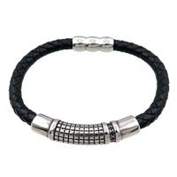 PU leather bracelet with magnetic clasp, stainless steel beads, approx 8mm, 70mm dia