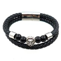 PU leather bracelet with magnetic clasp, stainless steel lion beads, approx 12mm, 70mm dia