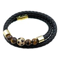 PU leather bracelets with magnetic clasp, approx 6mm, 60mm dia