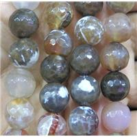 faceted round Fire agate bead, coffee, approx 10mm dia