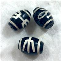 black tibetan style agate beads, oval, approx 10x14mm