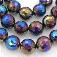 faceted round black Agate beads, rainbow electroplated, approx 10mm dia