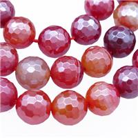 red stripe agate beads, faceted round, electroplated, approx 10mm dia