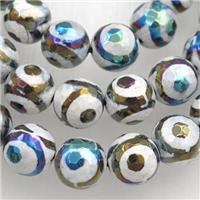 faceted round Tibetan Agate beads, eye, AB color electroplated, approx 10mm dia