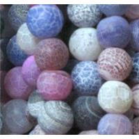 frosted crackle agate beads, round, mixed color, 8mm dia, approx 48pcs per st