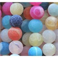round frosted crackle agate beads, mixed color, 8mm dia, approx 48pcs per st