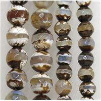 tibetan style Agate stone beads, faceted round, approx 6mm dia