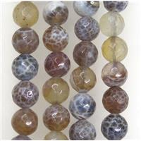 coffee Fire Agate beads, faceted round, approx 10mm dia
