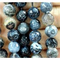faceted round fired Agate Beads, black, approx 10mm dia, 38pcs per st