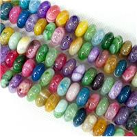 Agate rondelle Beads, mix color, approx 6x10mm