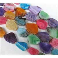 Agate Slice beads, flat freeform, mixed color, approx 15-25mm