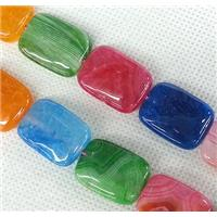 Agate stone beads, rectangle, mixed color, approx 15x20mm