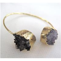 druzy amethyst bracelet, gold plated, approx 10-16mm, 60mm dia