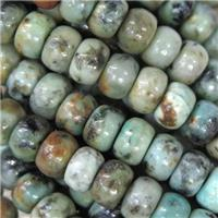 African Turquoise barrel beads, green, approx 4x6mm