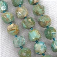 coffee green Dragon veins agate beads, faceted round, approx 12-13mm
