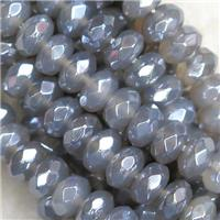 faceted rondelle gray Agate beads, light electroplated, approx 5x8mm