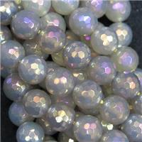 faceted round grey agate beads, AB color electroplated
