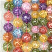 round crackle Crystal Glass beads, AB color electroplated, mixed color, approx 10mm dia