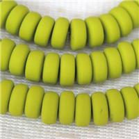 olive Fimo Polymer Clay rondelle Beads, approx 3x6mm