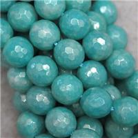 faceted round Jasper beads, green dye, light plated, approx 8mm dia