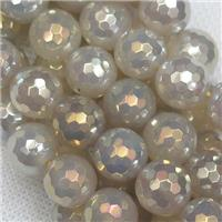 faceted round Gray Agate Beads with gold electroplated, approx 8mm dia