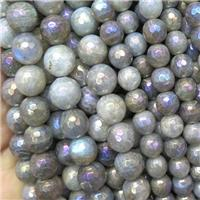 Labradorite beads, faceted round, AB color electroplated, approx 8mm dia