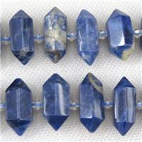 blue Sodalite bullet beads, approx 12-27mm